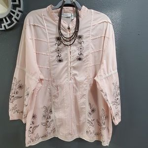 Dressbarn Woman Light Pink Embroidered Blouse